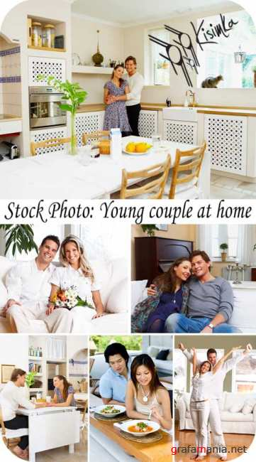 Stock Photo: Young couple at home