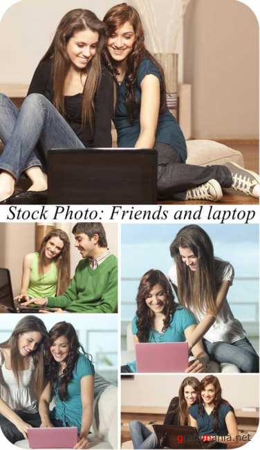 Stock Photo:  Friends and laptop
