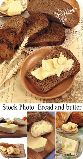 Stock Photo: Bread and butter