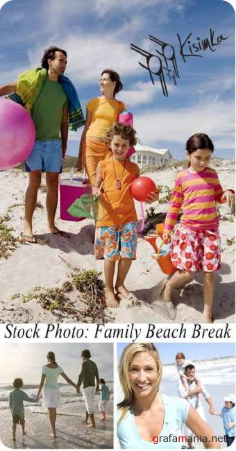 Stock Photo:  Family Beach Break