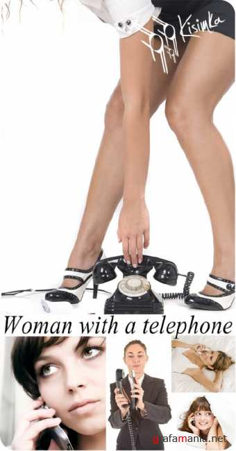 Stock Photo: woman with a telephone