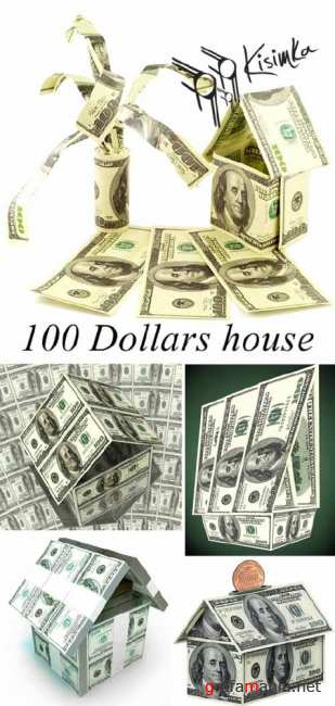 Stock Photo: 100 Dollars house
