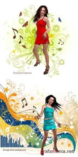Girls and Music Vectors