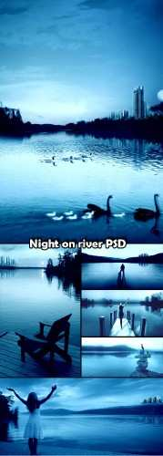 Night on the river PSD