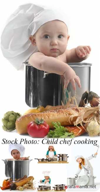 Stock Photo: Child chef cooking