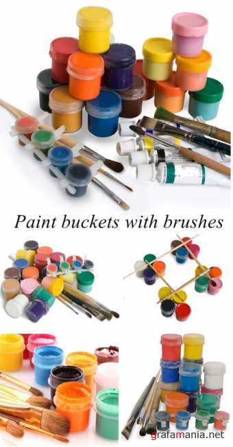 Paint buckets with brushes