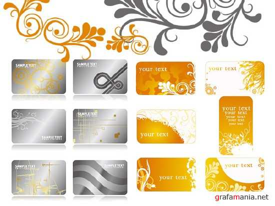 Two sets of vector business cards