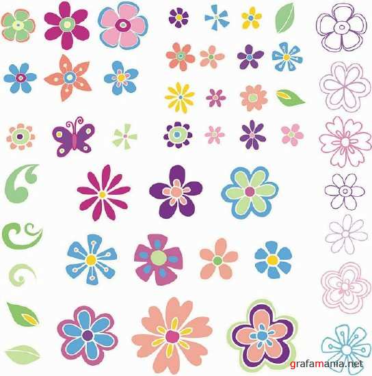 Funny Flowers Vector