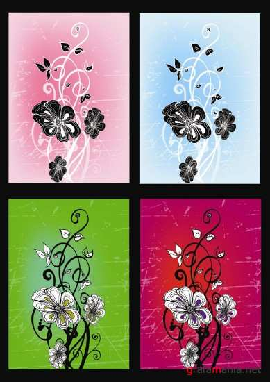 Four floral background