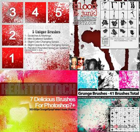 Photoshop Brushes Pack - Textures, Splashes, Drops