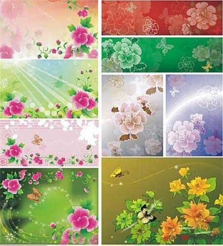 Beautiful vector floral backgrounds