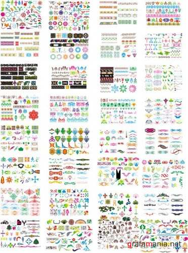 1000 vector patterns, ornaments and elements
