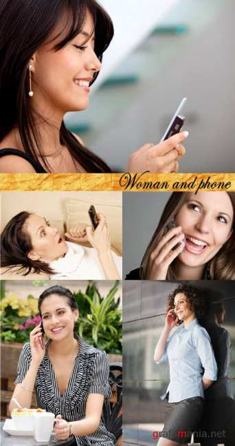 Stock Photo: Woman and phone