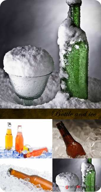 Stock Photo:  Bottle and ice