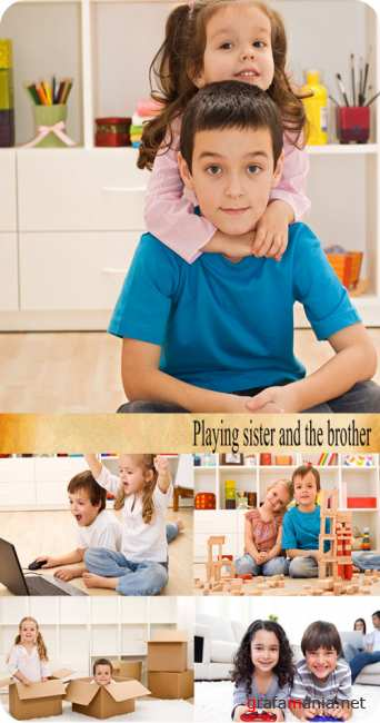 Stock Photo: Playing sister and the brother