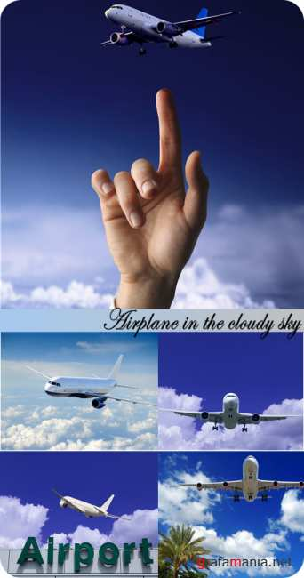 Stock Photo: Airplane in the cloudy sky