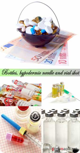 Stock Photo: Bottles, hypodermic needle and vial shot