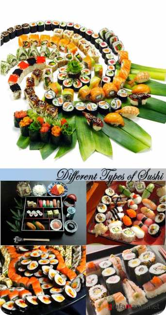 Stock Photo: Different Types of Sushi