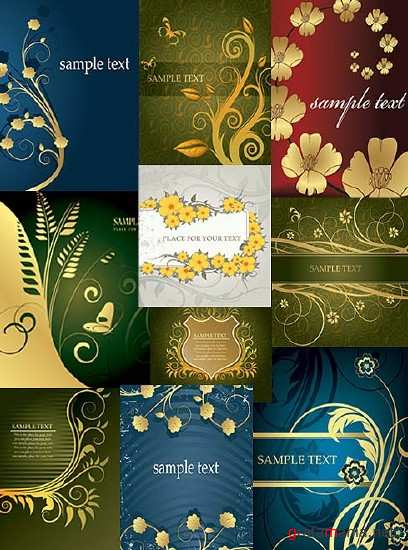 Collection of beautiful floral vector background