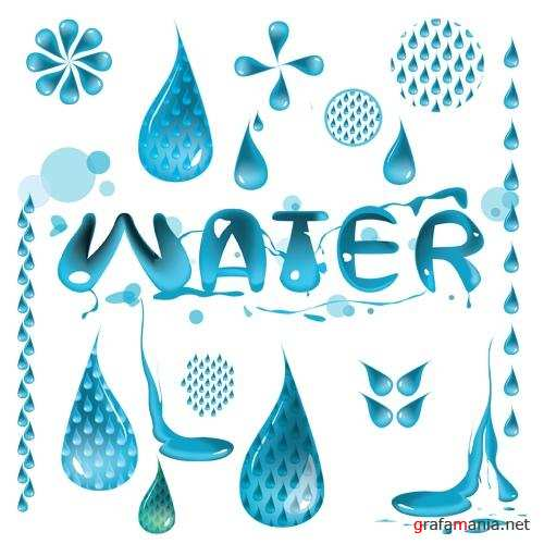 Water Vector Set Drops