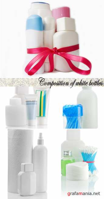 Stock Photo: Composition of white bottles