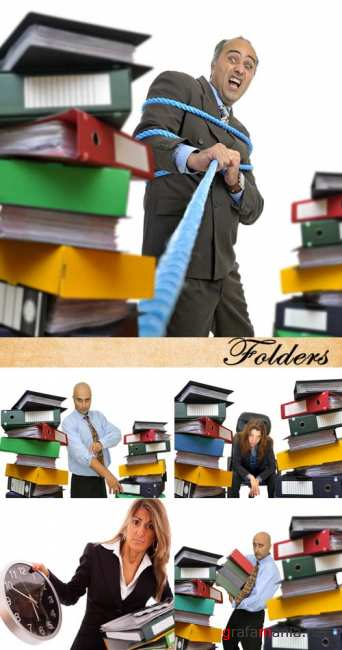Stock Photo: Businessman and folders