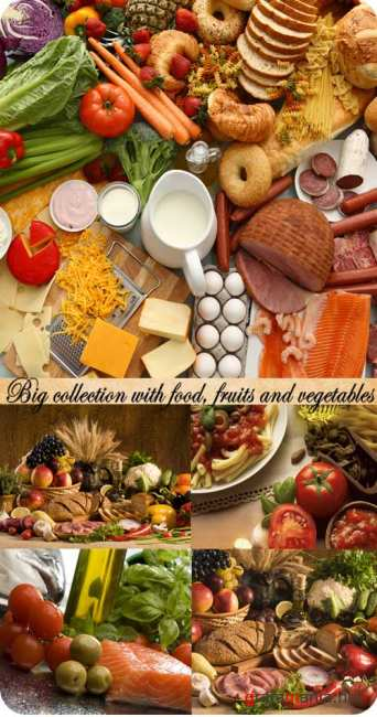 Stock Photo: Big collection with food, fruits and vegetables