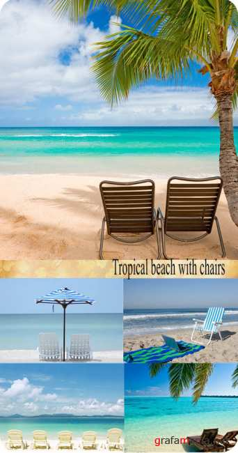 Stock Photo: Tropical beach with chairs