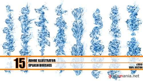 15 Water Splash Brushes for Adobe Illustrator