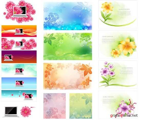 Three Sets of Floral Backgrounds