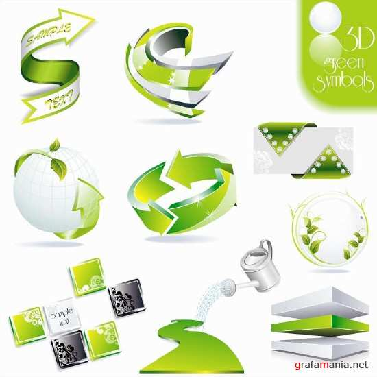 3D Icons Green Set