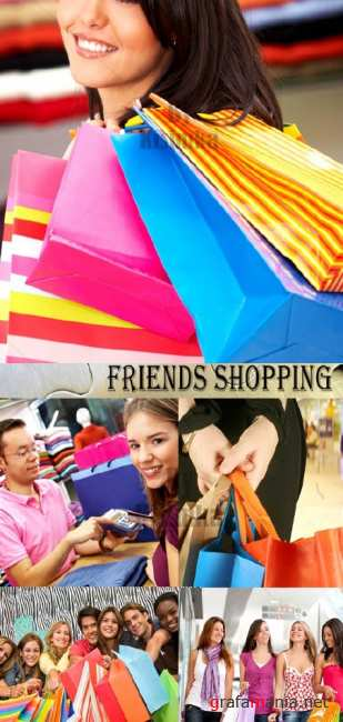 Stock Photo:Friends shopping