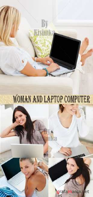Stock Photo: Woman and laptop computer