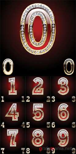 Golden and Diamond Numbers Vector Set - Stock Vectors