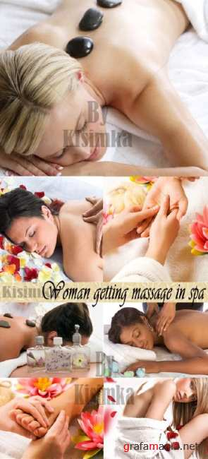 Stock Photo: Woman getting massage in spa