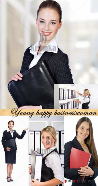 Stock Photo: Young happy businesswoman