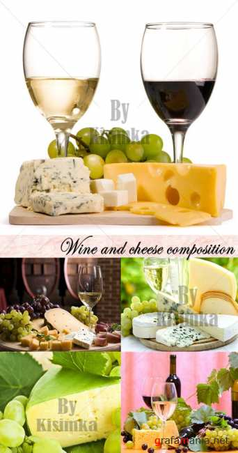Stock Photo: Wine and cheese composition