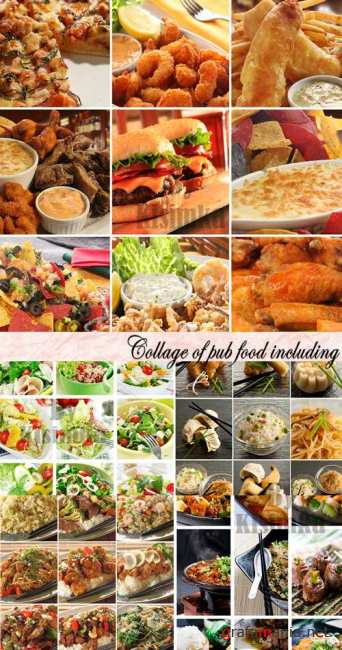 Stock Photo: Collage of pub food including