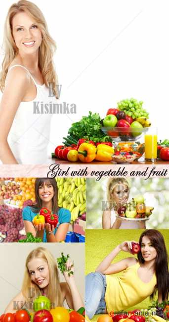 Stock Photo: Girl with vegetable and fruit