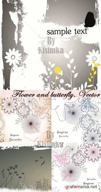 Flower and butterfly. Vector