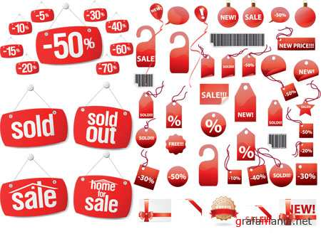Red Discount Sale Tags Vectors