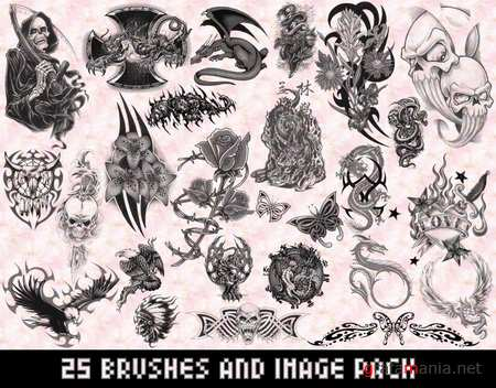 25 Tattoo Brushes and Image Pack
