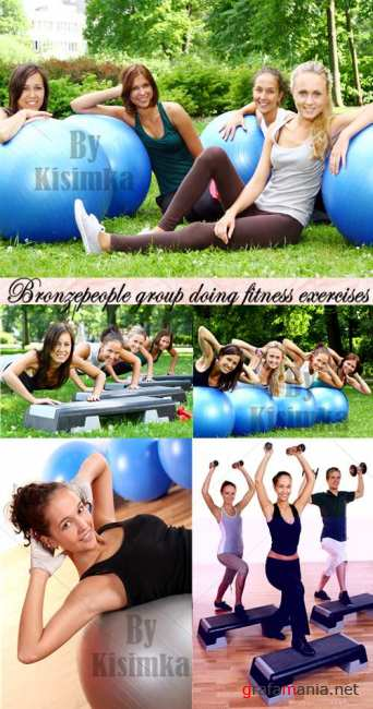 Stock Photo: Bronzepeople group doing fitness exercises