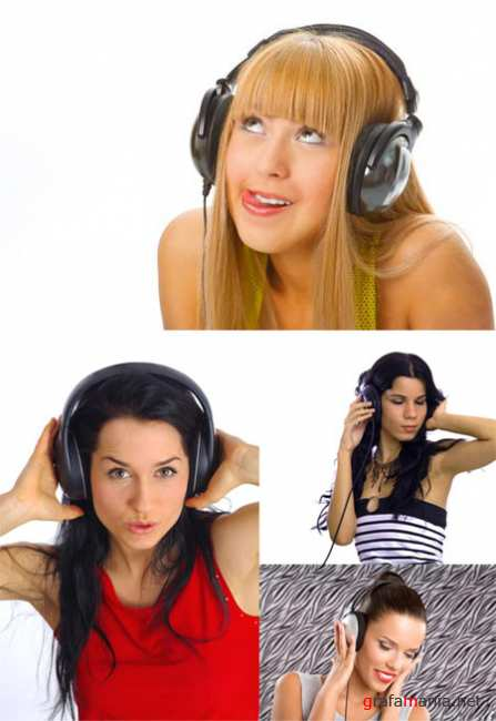 Girls in Headphones - Stock Photose