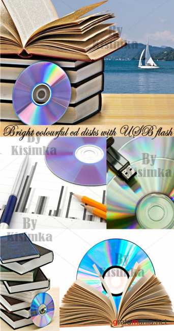 Stock Photo: Bright colourful cd disks with USB flash