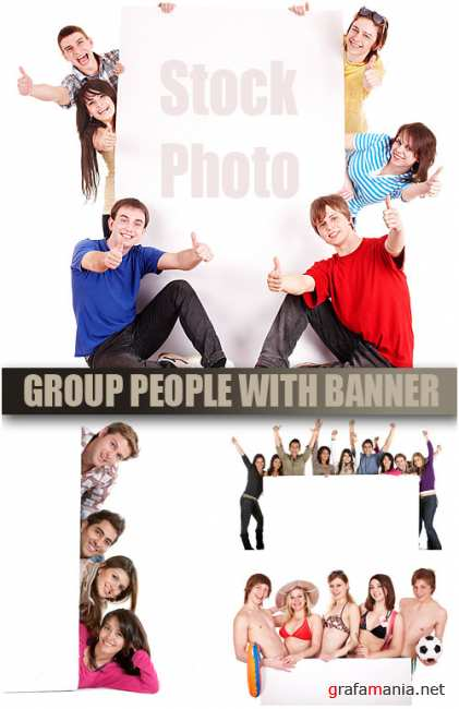 UHQ Stock Photo - People with banner