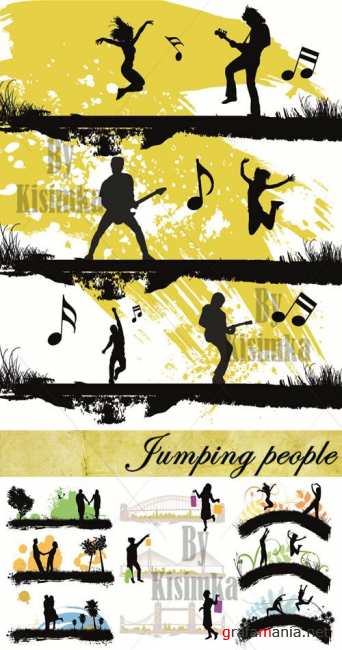 Stock Photo: Jumping people