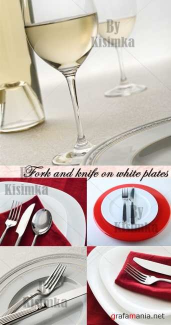 Stock Photo: Fork and knife on white plates