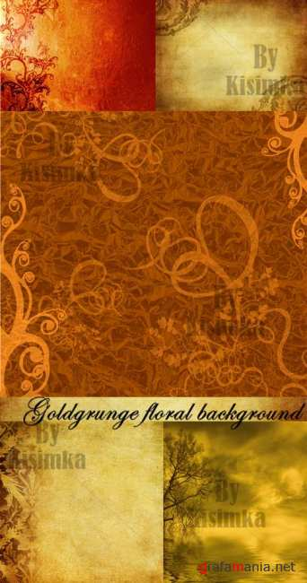 Stock Photo: Goldgrunge floral background
