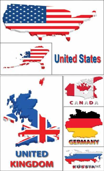 Country Territory with Flag Vectors